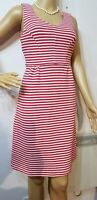 BODEN FITTED STRIPED DRESS SIZE UK 10 US 676%COTTON 24%POLYESTER RED WHITE