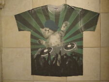 DJ  Rapper EDM Cat Funny All Over Front Print Sub Dye Soft T Shirt M