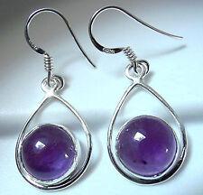 Purple Amethyst Globe 925 Sterling Silver Dangle Earrings Dangle Drop Hoop New