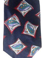 "Halston III Men's Silk Tie 58.5"" X 3.75"" Black w/ multi-color Geometric"