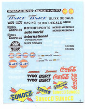 Fuel and Fender Sponsors decal sheet 1/64 scale AFX Tyco Lifelike Autoworld