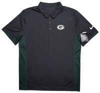 NIKE Green Bay Packers NFL Dri-Fit Polo Shirt Gray Green Large L ~ New