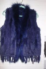 NWOT Classic Knitted Rabbit Fur Vest Raccoon Fur Collar GORGEOUS BLUE OS