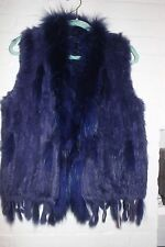 NWOT Classic Knitted Rabbit Fur Vest Raccoon Fur Collar GORGEOUS BLUE OS