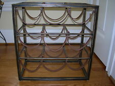 Maitland Smith Wrought Iron with Vintage Leather Straps Wine Rack