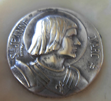 ANTIQUE MINIATURE SILVERPLATED MEDAL OF JEANNE D'ARC BY ESCUDERO FRANCE