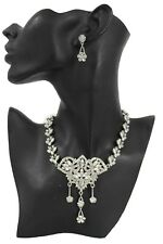 Women Silver Long Fashion Necklace Chain Leaves Bling Dressy Jewelry + Earrings