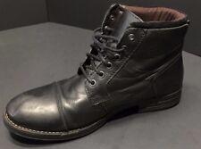 Base London Mens Black Leather Ankle Boots Size EU 43