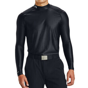 Under Armour HeatGear Iso Chill Black Mens Golf Fitted Long Sleeved Mock Top L