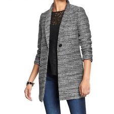 Old Navy Large Finley Tweed Car Coat Black White One Button Slim Lapel Lined