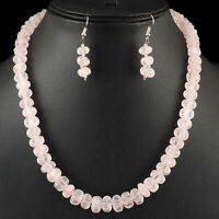 """17"""" Natural Rose Quartz Melon Carved Beads Necklace 925 Clasp + Free Earrings"""