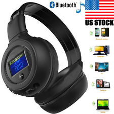 Wireless Bluetooth Music Stereo Headphone Headset With Call Mic Microphone SD BK