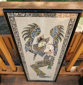 Batuan Bali Painting Folk Art Balinese Dancer in Wooden Frame Artist Signed #2