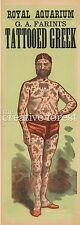 TATTOOED GREEK, Vintage Circus Freak Show Poster Rolled CANVAS PRINT 17x42 in.