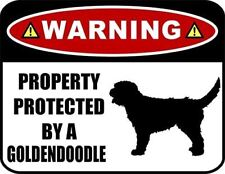 Warning Property Protected by a Goldendoodle (Silhouette) Laminated Dog Sign