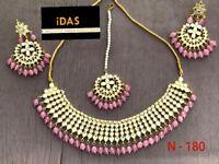 Indian Bollywood Kundan Choker Necklace Earring Tikka Pink Jewelry Set