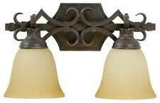 Craftmade 2 Light Vanity with Tea-Stained Glass Shades, Aged Bronze Finish
