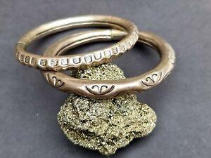Rajasthan Indian Silver Hollow Metal Embossed Symbol Bracelet Bangle Vintage