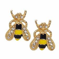 """Pair of 5/8"""" HONEY BEE Rhinestone Stud Earrings (15mm) Bumblebee Honeybee"""