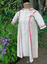 Antique Child's Calico Dress 1860 Cotton with Pink Trim