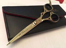 """6.5"""" Professional Titanium Finish Gold Hair Cutting Barber Scissors + Free Case"""