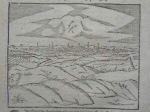 Mons Bergen Stadtansicht Hennegau Belgien Cosmographia Münster Holzschnitt 1580