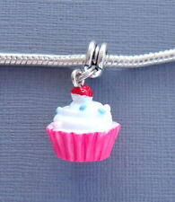 Pendant Pink CUPCAKE Large hole bead Fits European Charm Bracelet / Necklace C45