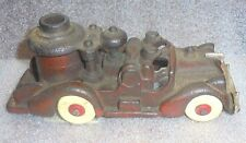 antique Hubley red paint cast iron fire truck toy