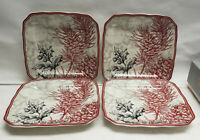 "Set of FOUR (4) 222 FIFTH China - JOYFUL Pattern - 6"" Square APETIZER PLATES"