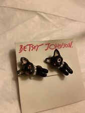 Betsey Johnson Dark Shadows Cat Earrings Front & Back Nwt $25