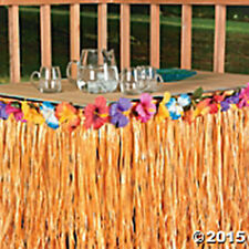 "Artificial Grass & Hibiscus TABLE SKIRT 9' wide x 29"" long FREE U.S.PRIORITY SP"