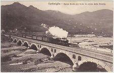 VENTIMIGLIA - NUOVO PONTE CON TRENO IN ARRIVO DALLA FRANCIA (IMPERIA) 1917