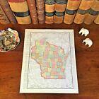 Large Original 1898 Antique Map WISCONSIN Janesville Madison Waukesha Green Bay