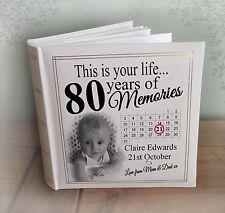 libro de memoria 80th Cumpleaños Regalo Personalised grande de lujo del libro de visitas álbum de fotos