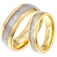 His And Hers Matching Meteorite Inlay Gold Wedding Engagement Band Ring Set