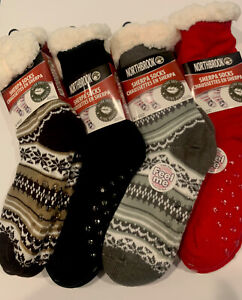 Thick Sherpa Slipper Lounge Comfy Socks Red/White, Black Brown Gray Variety