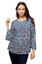 Lucky Brand Womens L Peasant BOHO Blue Print Knit Smocked Baby Doll Top NWT