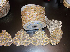 1m 10cm gold crystal indian arabic paisley braid beaded lace bridal wedding