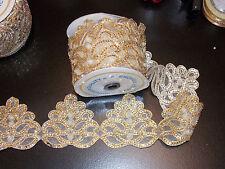 1m 10cm gold crystal indian arabic paisley braid beaded lace bridal wedding