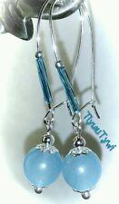 Beautiful Aquamarine Gemstone Dangle Earrings...Silver Plated Kidney Hooks...
