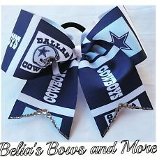 Dallas Cowboys cheer style hair bow accent with swarovski crystals