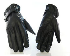 Men Driving Black 100% Genuine lamb Leather Studded Gloves Size XL