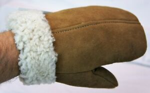 REAL GENUINE SHEEPSKIN SHEARLING LEATHER MITTENS UNISEX TOFFEE BROWN SUEDE S-2XL