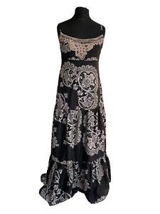 Mint Velvet Dress Size 12 Black Silver Mandala Silk Tiered Boho Maxi Wedding