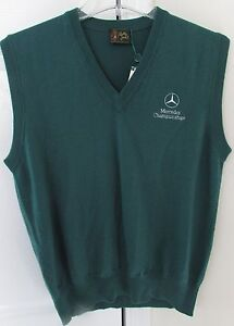 MERCEDES Championship Bobby Jones Green Merino Wool Sweater Vest Italy Small