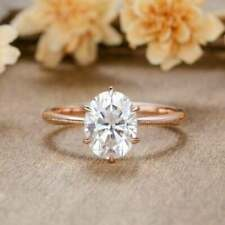 Solitaire Engagement Ring Rose Gold Oval cut Moissanite ring