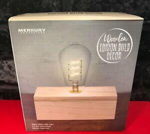 Wooden EDISON BULB DECOR Lamp - Opened/ Unused