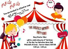 CIRCUS/GREATEST SHOWMAN THEMED PARTY INVITES, PERSONALISED, PACK OF 10 A6 SIZE