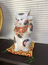 JAPANESE KUTANI DOLL / Beckoning cat / Lucky Item / Made in JAPAN antique