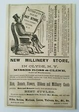 1867 New York Clyde Matteson Hat Store Ross & Cline Millinery Advertisement Ad